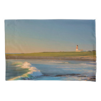 Sunset at Bay lighthouse with ocean waves evening Pillowcase