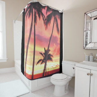 sunset at beach 1 shower curtain
