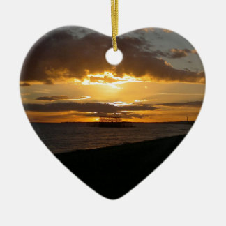 Sunset At Brighton Beach Ceramic Ornament