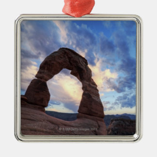 Sunset at Delicate Arch Silver-Colored Square Decoration