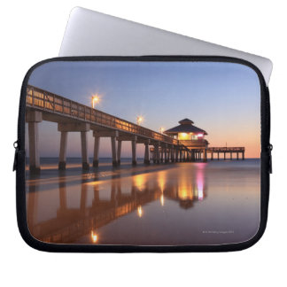Sunset at Fishing Pier, Fort Myers Beach, Laptop Sleeve