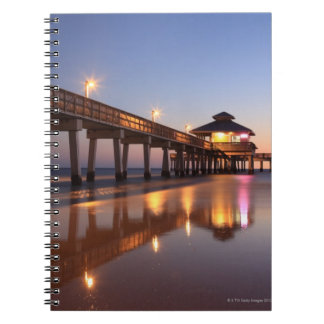 Sunset at Fishing Pier, Fort Myers Beach, Spiral Note Book