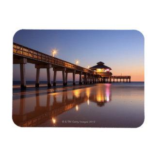 Sunset at Fishing Pier, Fort Myers Beach, Rectangular Photo Magnet