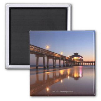 Sunset at Fishing Pier, Fort Myers Beach, Square Magnet