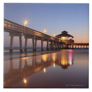 Sunset at Fishing Pier, Fort Myers Beach, Large Square Tile