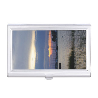 Sunset At Folly Harbor Business Card Holder