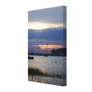 Sunset At Folly Harbor Canvas Print