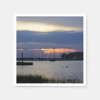 Sunset At Folly Harbor Paper Napkin