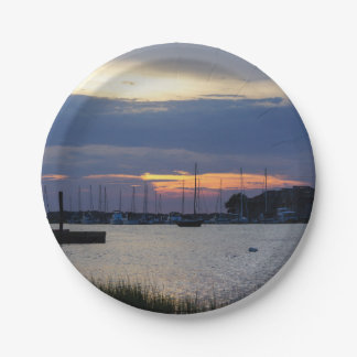 Sunset At Folly Harbor Paper Plate