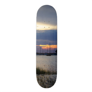 Sunset At Folly Harbor Skate Board Decks