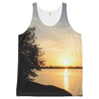 Sunset at lake All-Over print tank top