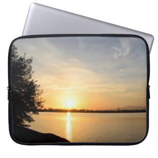 Sunset at lake laptop computer sleeves