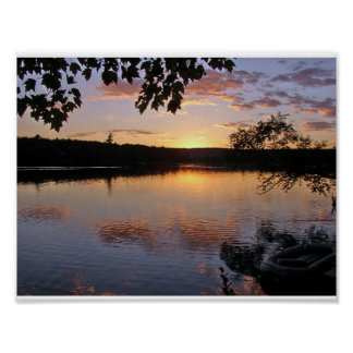 Sunset at Lake St. George, Maine Poster