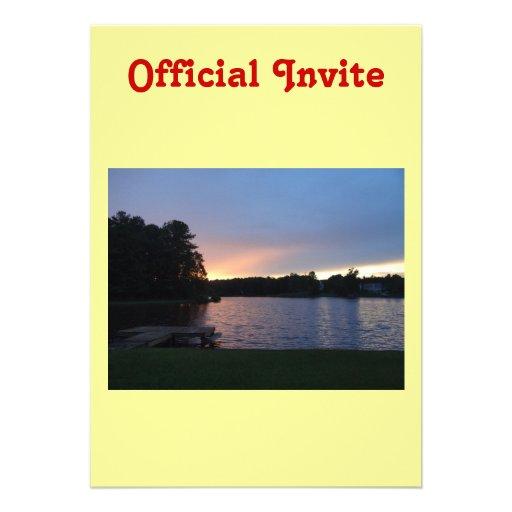 Sunset at Lake Swan, Paulding, Georgia Personalized Invitations
