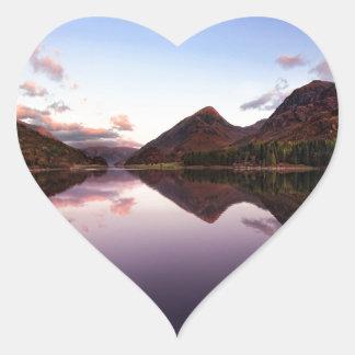 Sunset at Loch Leven, Scotland Heart Sticker