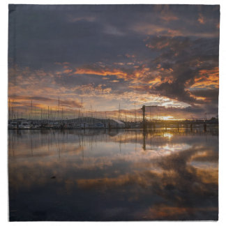 Sunset at Marina in Anacortes in Washington USA Napkin