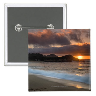Sunset at Monastery Beach, Carmel, California, 15 Cm Square Badge