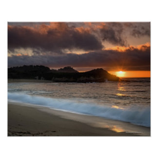 Sunset at Monastery Beach, Carmel, California, Poster