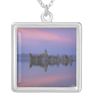 Sunset at Mono Lake, CA. Square Pendant Necklace