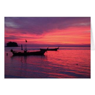 Sunset at Nai Yang Beach, Phuket, Thailand Card