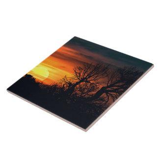 Sunset at Nature Landscape Ceramic Tile