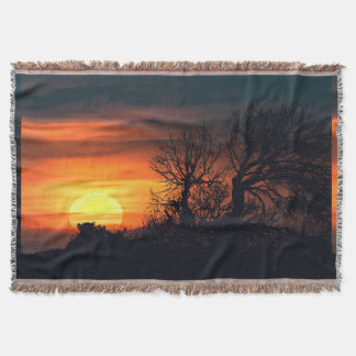 Sunset at Nature Landscape Throw Blanket