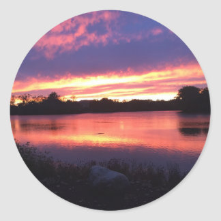 Sunset at Notre Dame Classic Round Sticker