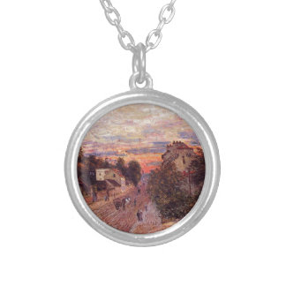 Sunset at Port Marly by Alfred Sisley Round Pendant Necklace