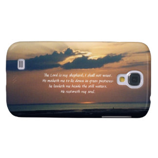 Sunset at Sea-Scripture/Psalm 23 Samsung Galaxy S4 Cover