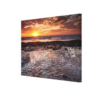 Sunset at the beach, California Canvas Print