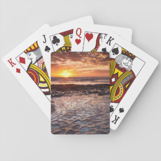 Sunset at the beach, California Playing Cards