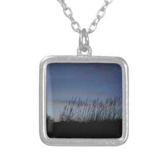 Sunset at the Beach Square Pendant Necklace