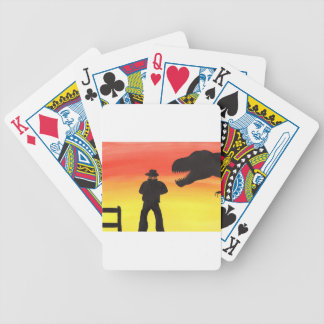 Sunset At The Dinosaur Ranch Bicycle Playing Cards