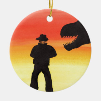 Sunset At The Dinosaur Ranch Ceramic Ornament