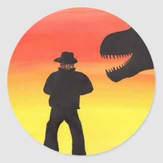 Sunset At The Dinosaur Ranch Classic Round Sticker