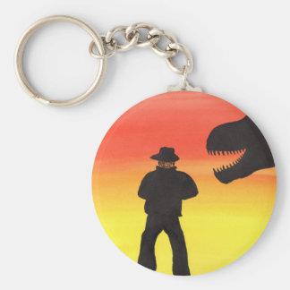 Sunset At The Dinosaur Ranch Key Ring