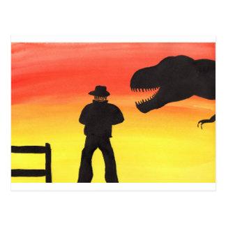 Sunset At The Dinosaur Ranch Postcard