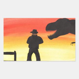 Sunset At The Dinosaur Ranch Rectangular Sticker