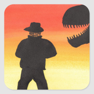 Sunset At The Dinosaur Ranch Square Sticker