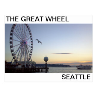 SUNSET AT THE GREAT WHEEL SEATTLE POSTCARD