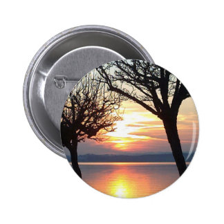 Sunset at the lake pinback buttons
