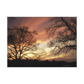 Sunset at the lake Glowing sunset wrapped canvas