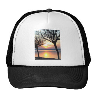 Sunset at the lake trucker hat