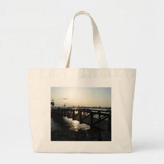 Sunset at the lake jumbo tote bag