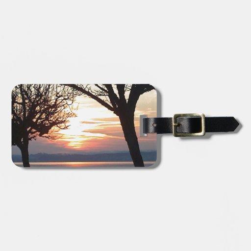Sunset at the lake bag tags