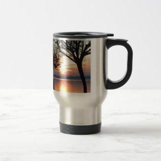 Sunset at the lake coffee mugs