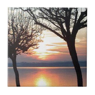 Sunset at the lake tiles