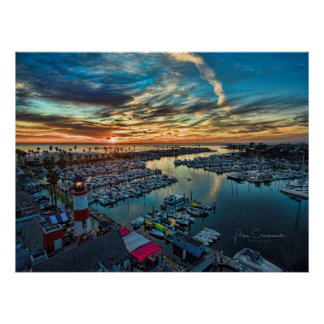 Sunset at the Oceanside Harbor Poster