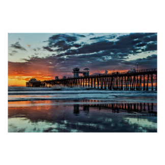 Sunset at the Oceanside Pier Poster