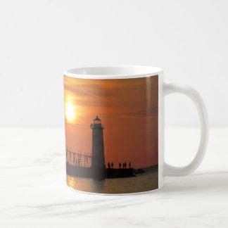 Sunset at the pier basic white mug